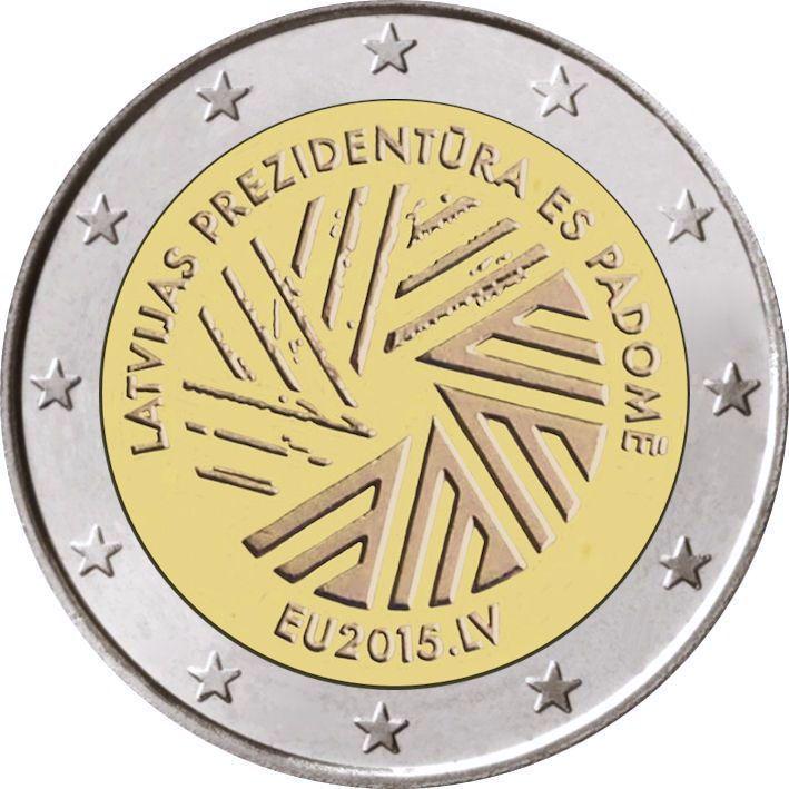 2 Euro Lettland 2015 Rat Der Eu Graf Waldschratde In Unserem