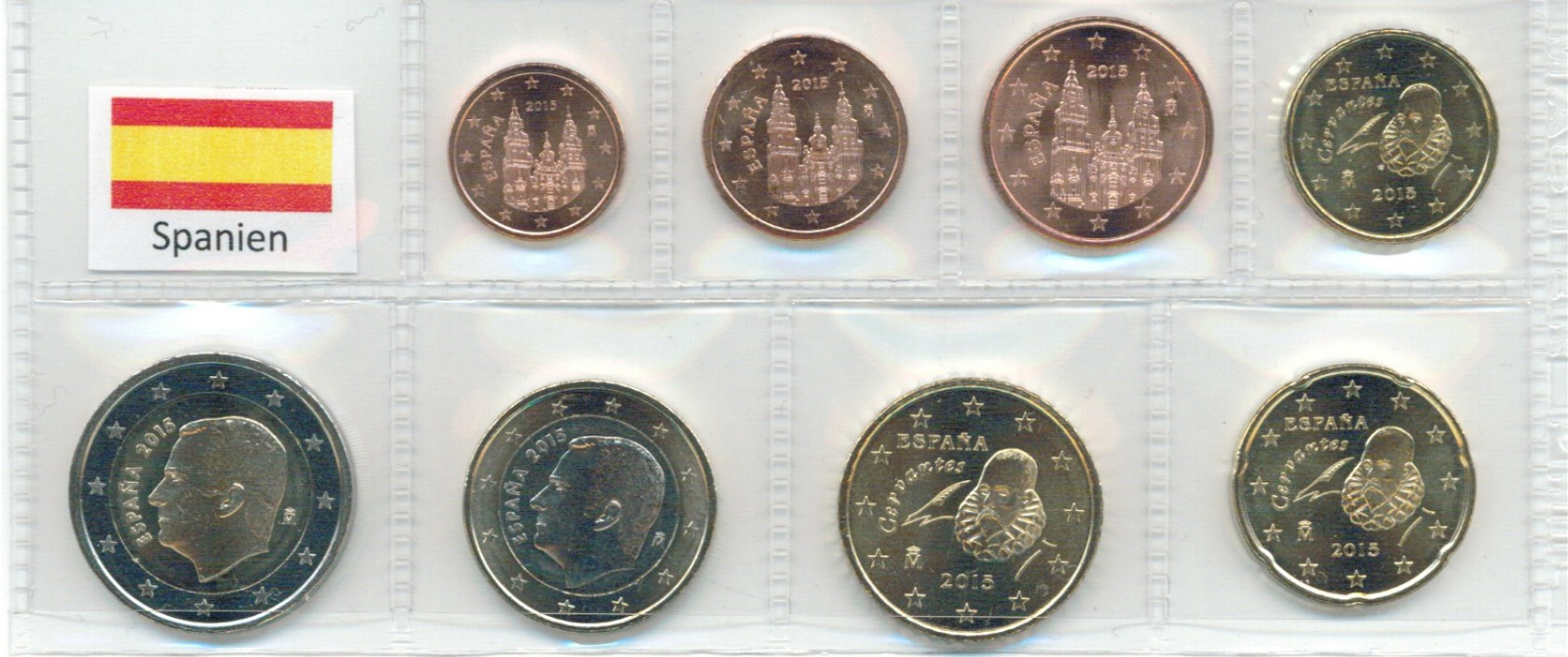 Kurs Münz Satz Spanien 2015 1 Cent Bis 2 Euro Neue Motive Graf