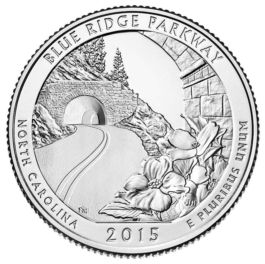 Usa 1 Quarter Blue Ridge Parkway 2015 P Graf Waldschratde In