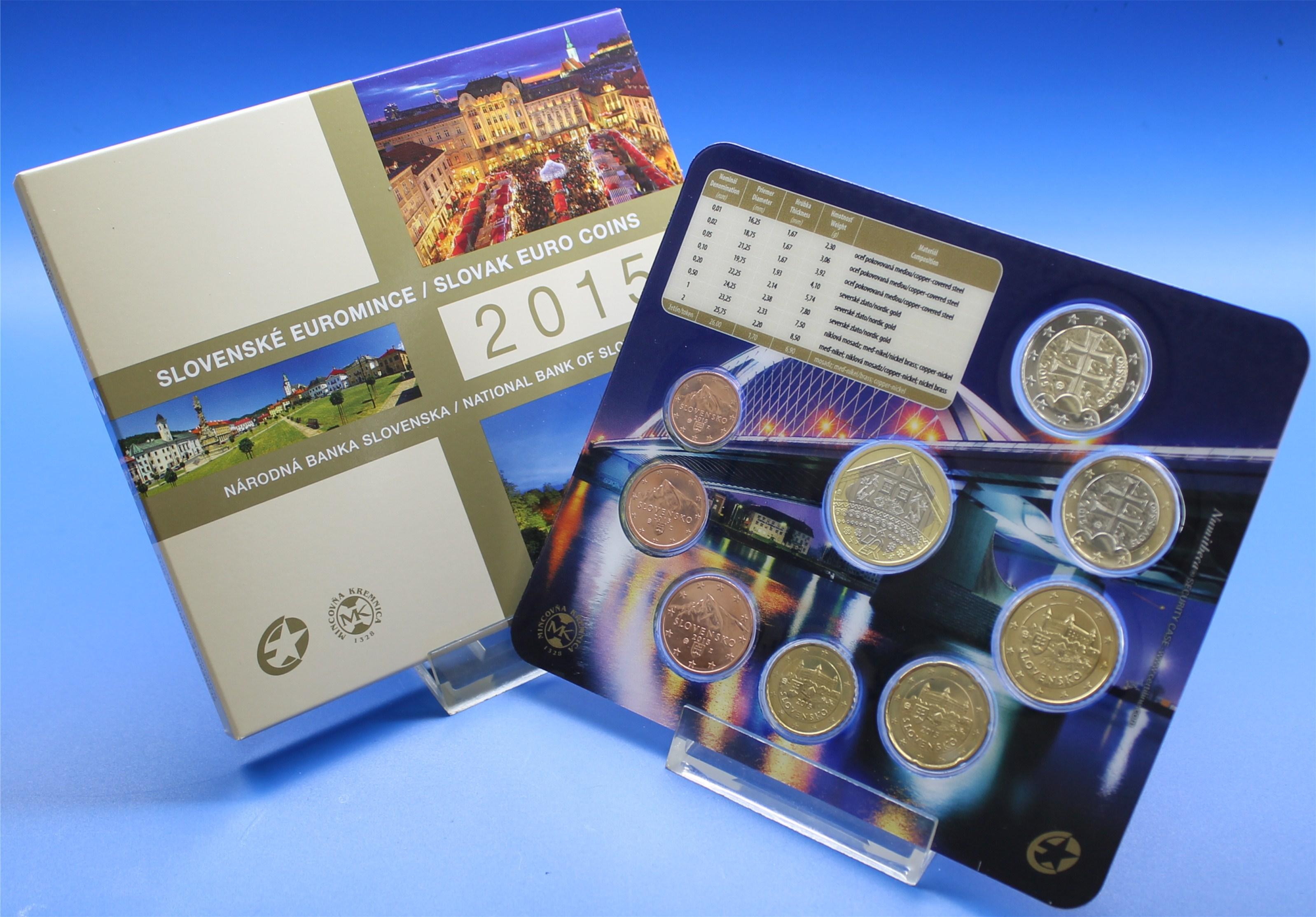 Slowakei 2015 Bu 1 Cent Bis 2 Euro Slowakische Euro Münzen Graf