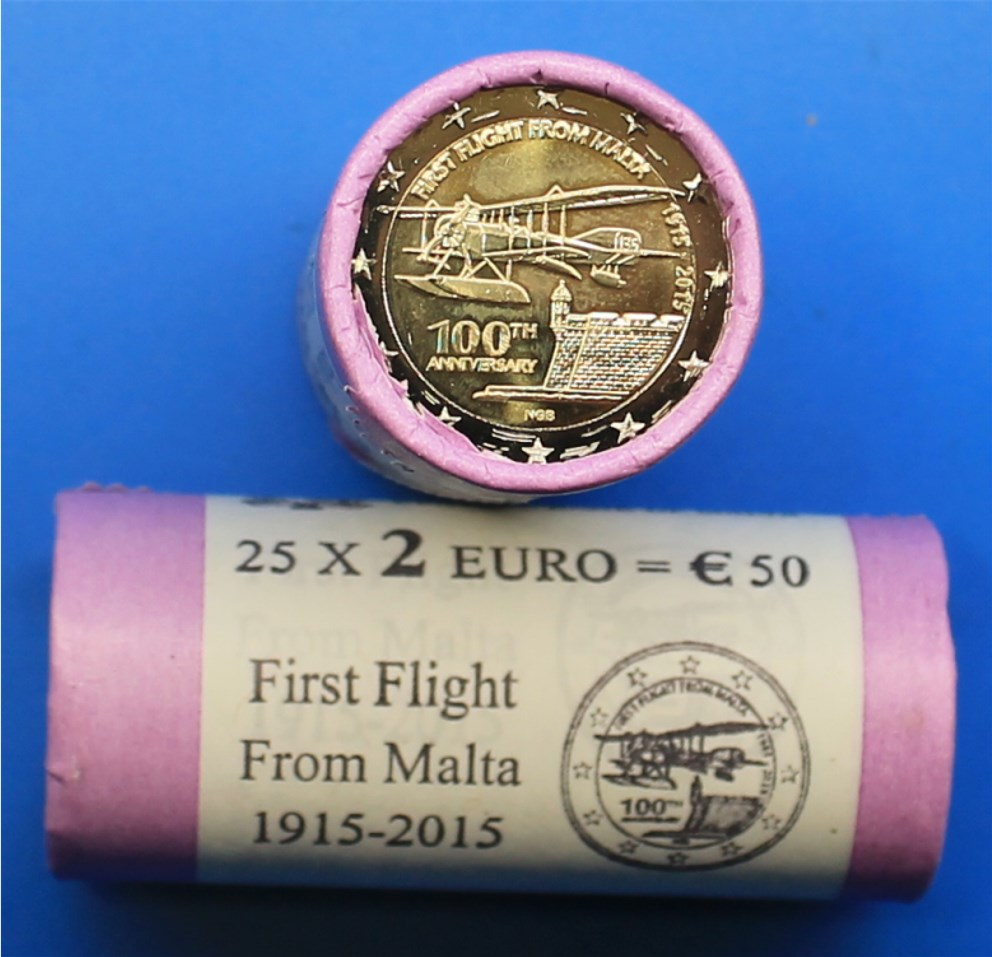 2 euro rolle malta 2015 erstflug graf in unserem euro m nzen katalog finden. Black Bedroom Furniture Sets. Home Design Ideas