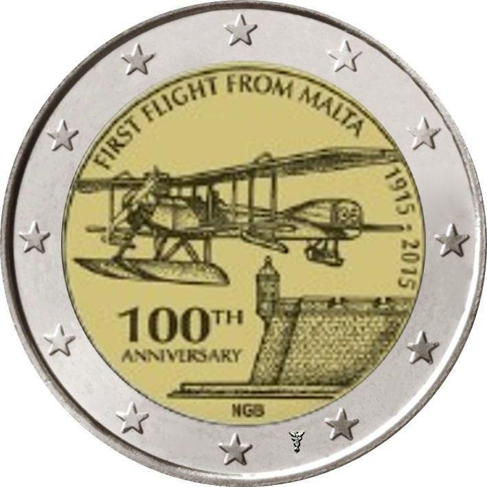 2 Euro Malta 2015 Erstflug Mit Münzzeichen