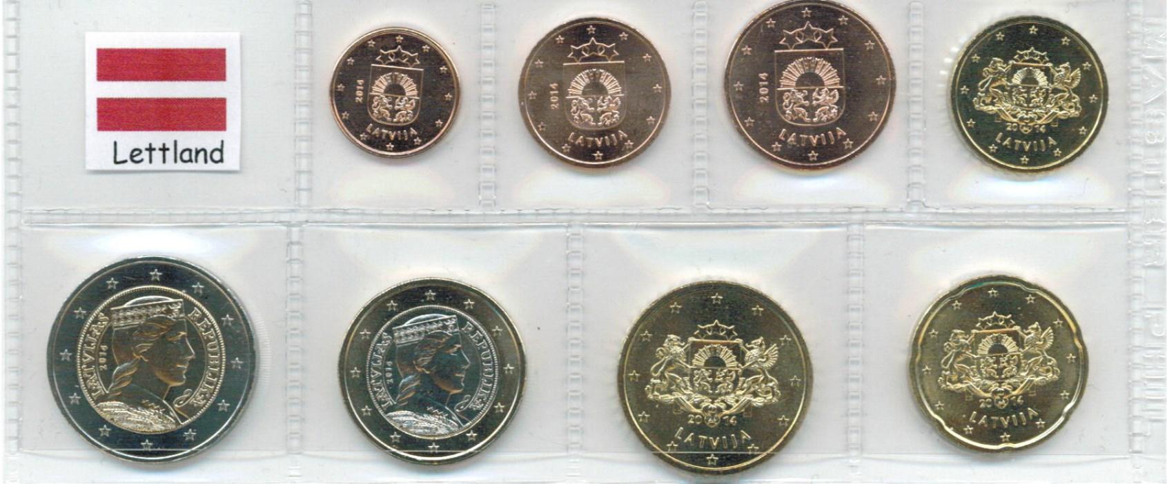 Kurs Münz Satz Lettland 2018 1 Cent Bis 2 Euro Graf Waldschrat