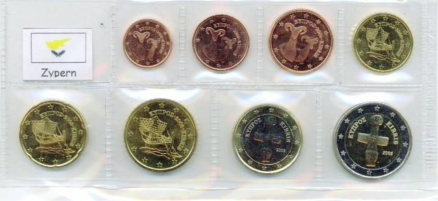 Kurs Münz Satz Zypern 2008 1 Cent Bis 2 Euro Graf Waldschratde