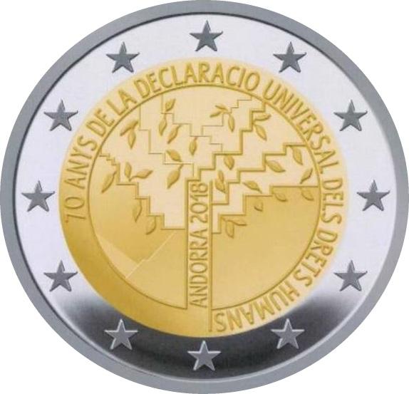 2 Euro Andorra 2018 Jahrestag Der Menschenrechte Graf Waldschrat