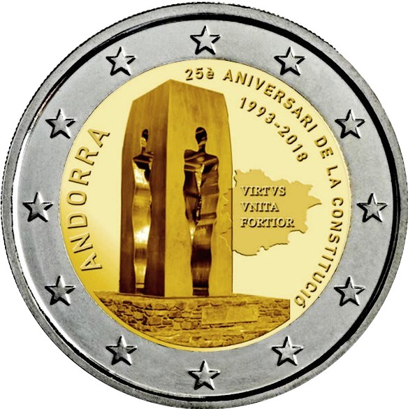 2 Euro Andorra 2018 25 Jahrestag Der Verfassung Von Andorra