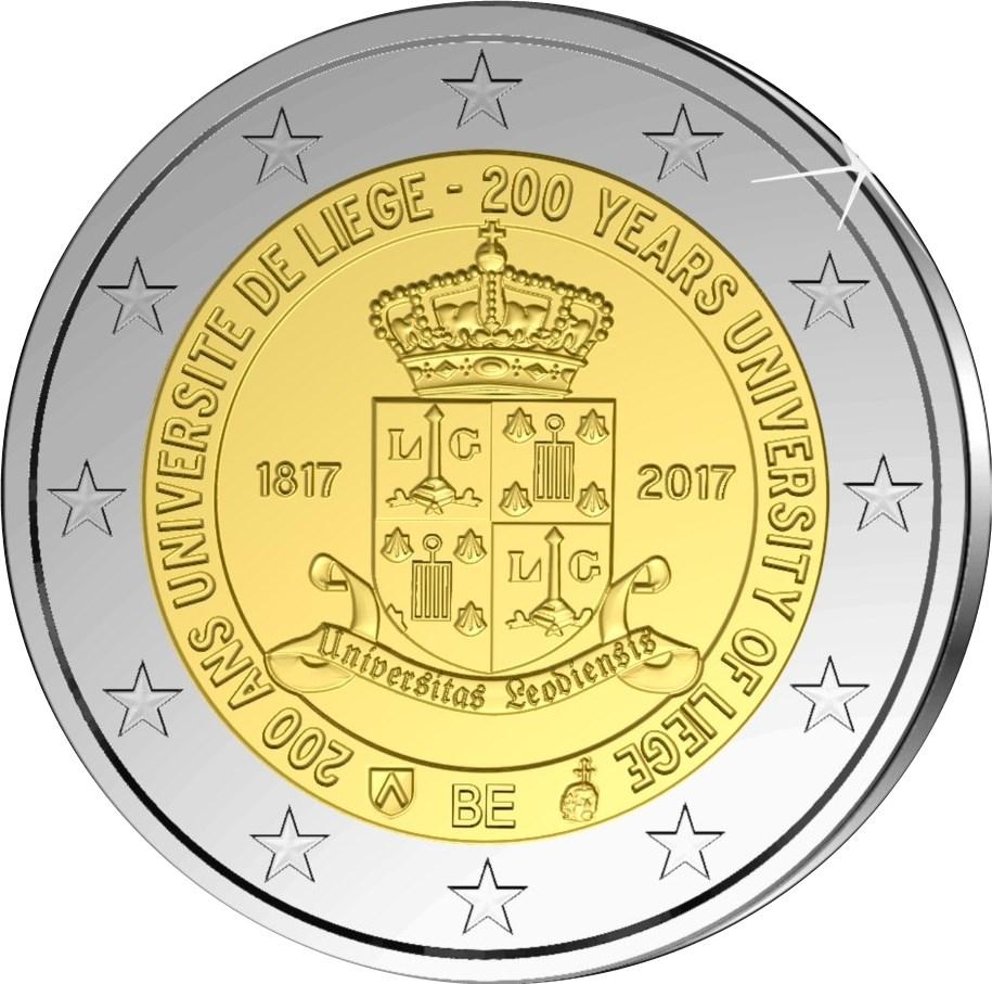 2 Euro Belgien 2017 Universität Lüttich Graf Waldschratde In