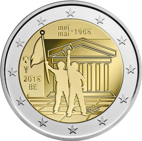 2 Euro Belgien 2018 Studentenrevolte Mai 1968 Graf Waldschratde