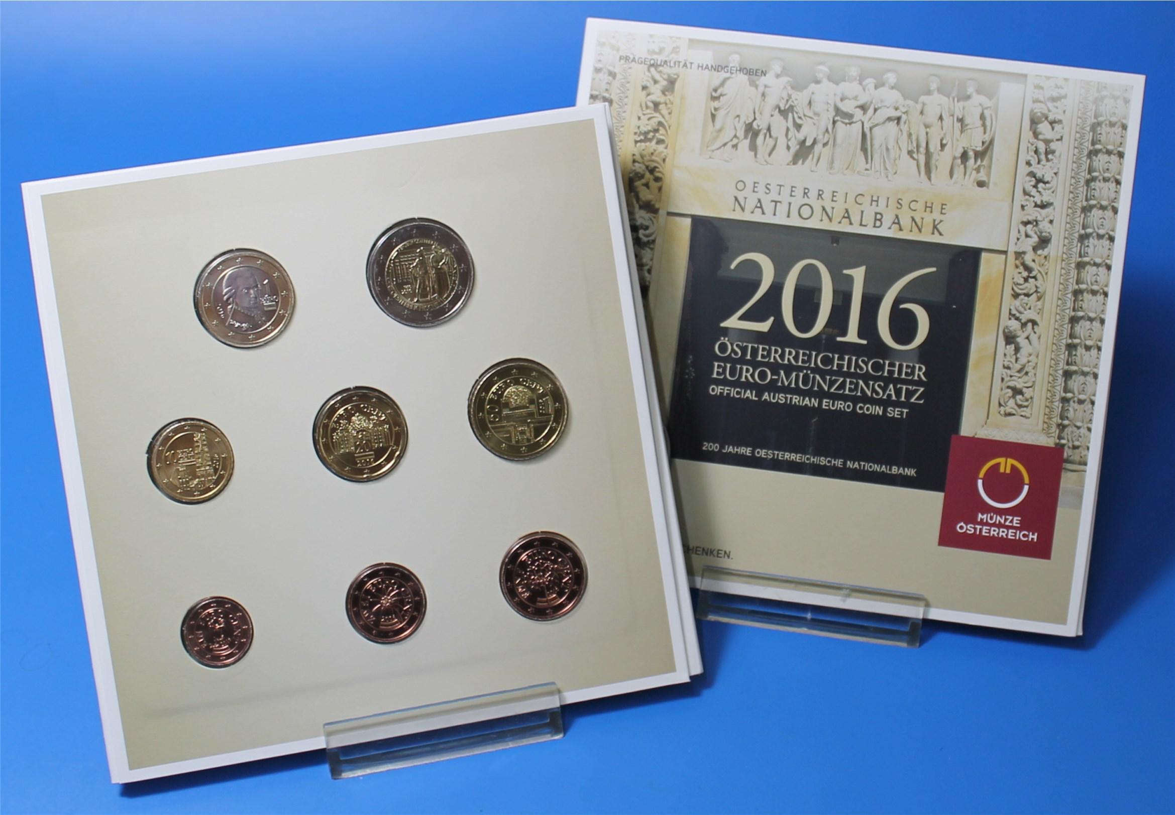 österreich 2016 Bu 1 Cent Bis 2 Euro Graf Waldschratde In