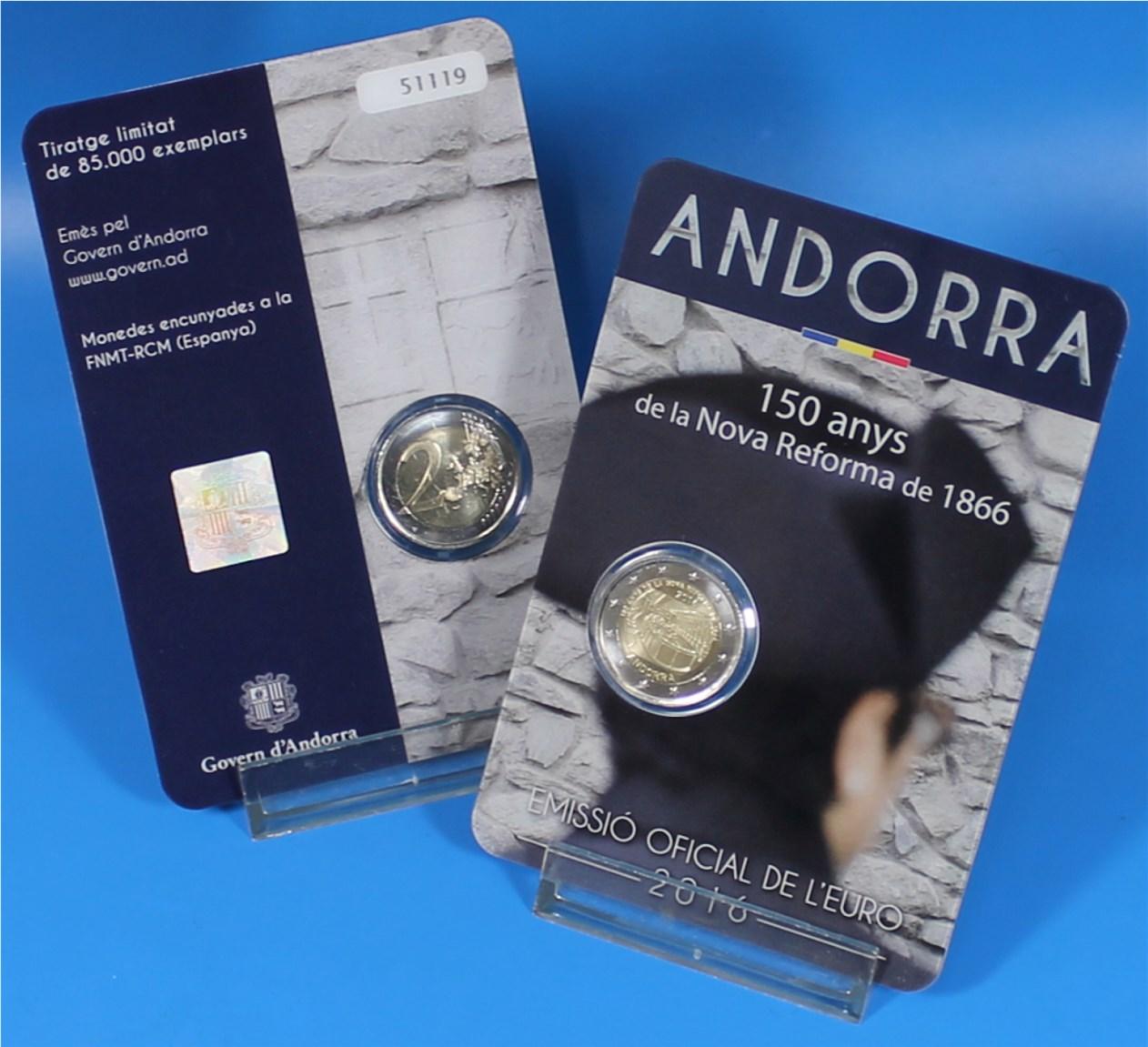 Coincard 2 Euro Andorra 2016 New Reform Graf Waldschratde