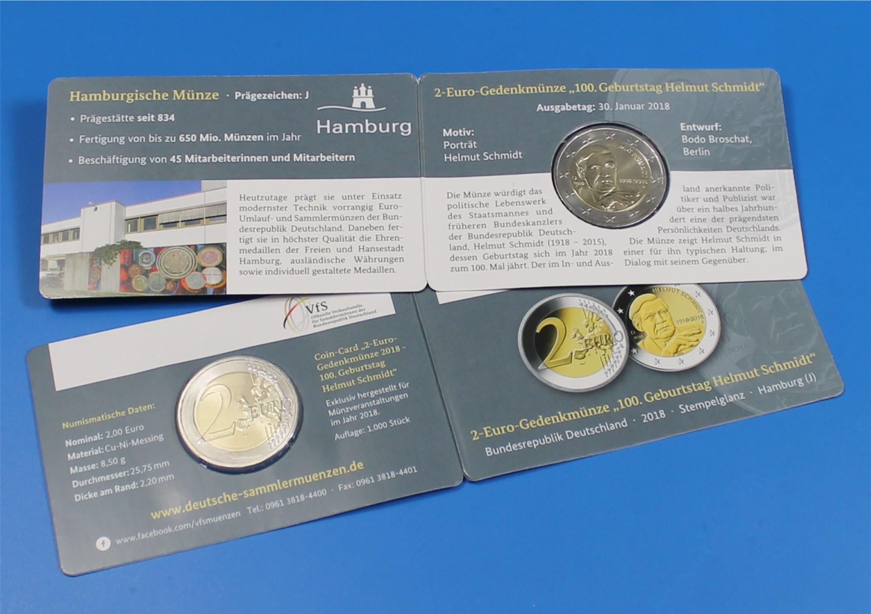 Coin Card 2 Euro Deutschland 2018 J Helmut Schmidt Nur 1000x