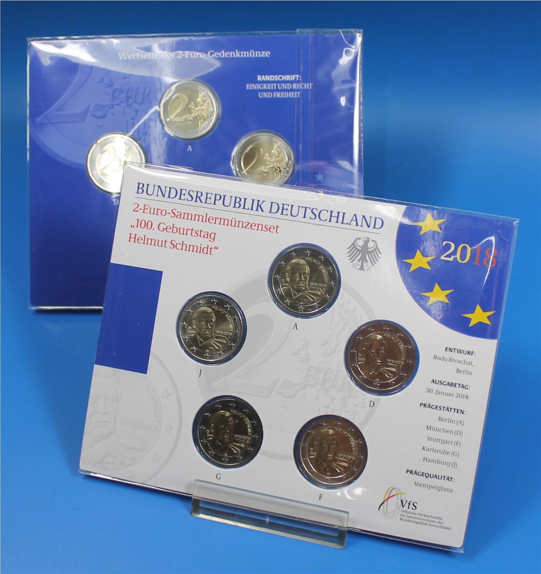Coin Card 2 Euro Deutschland 2018 A Bis J Helmut Schmidt Graf