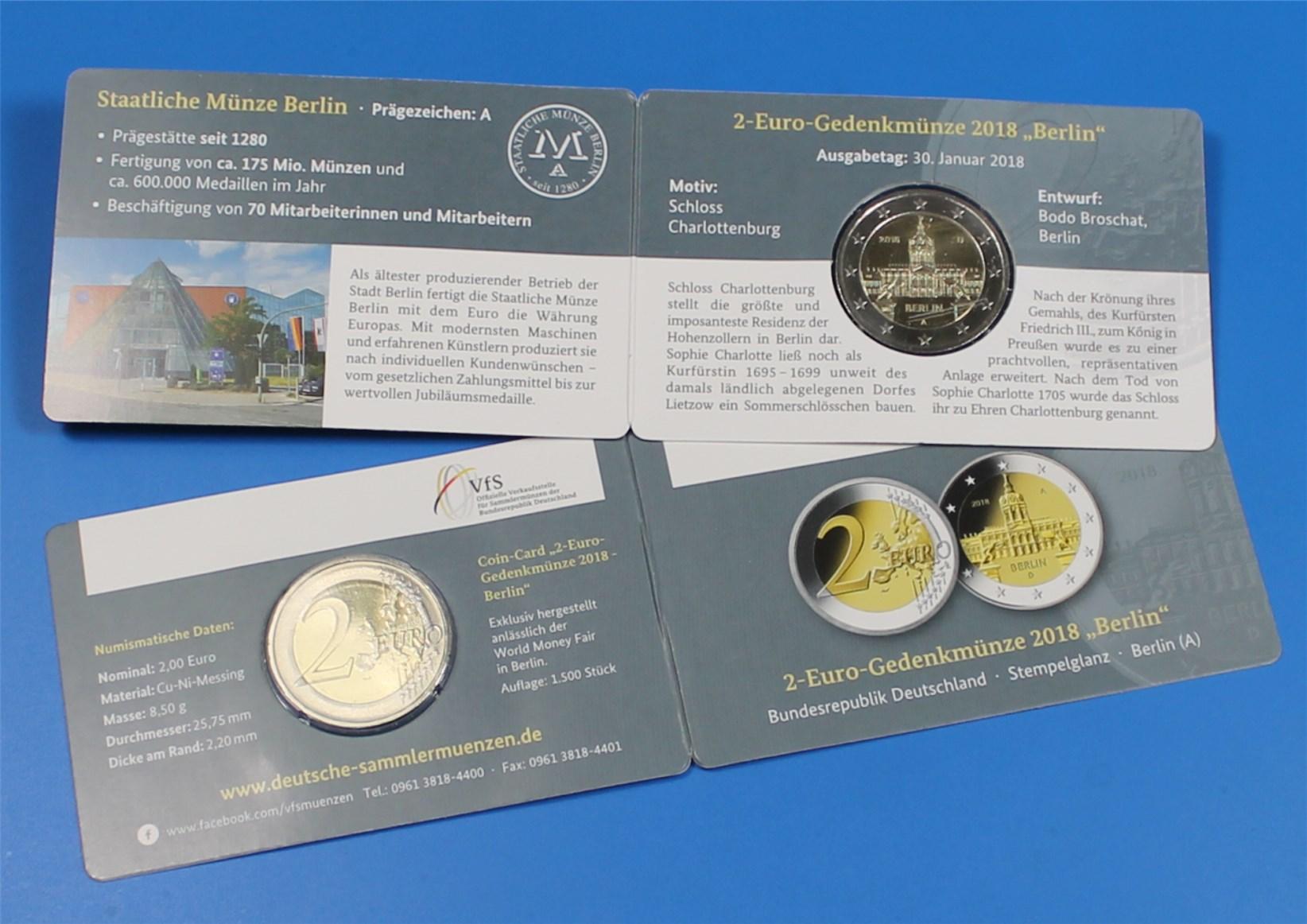 Coin Card 2 Euro Deutschland 2018 A Charlottenburg Nur 1500x