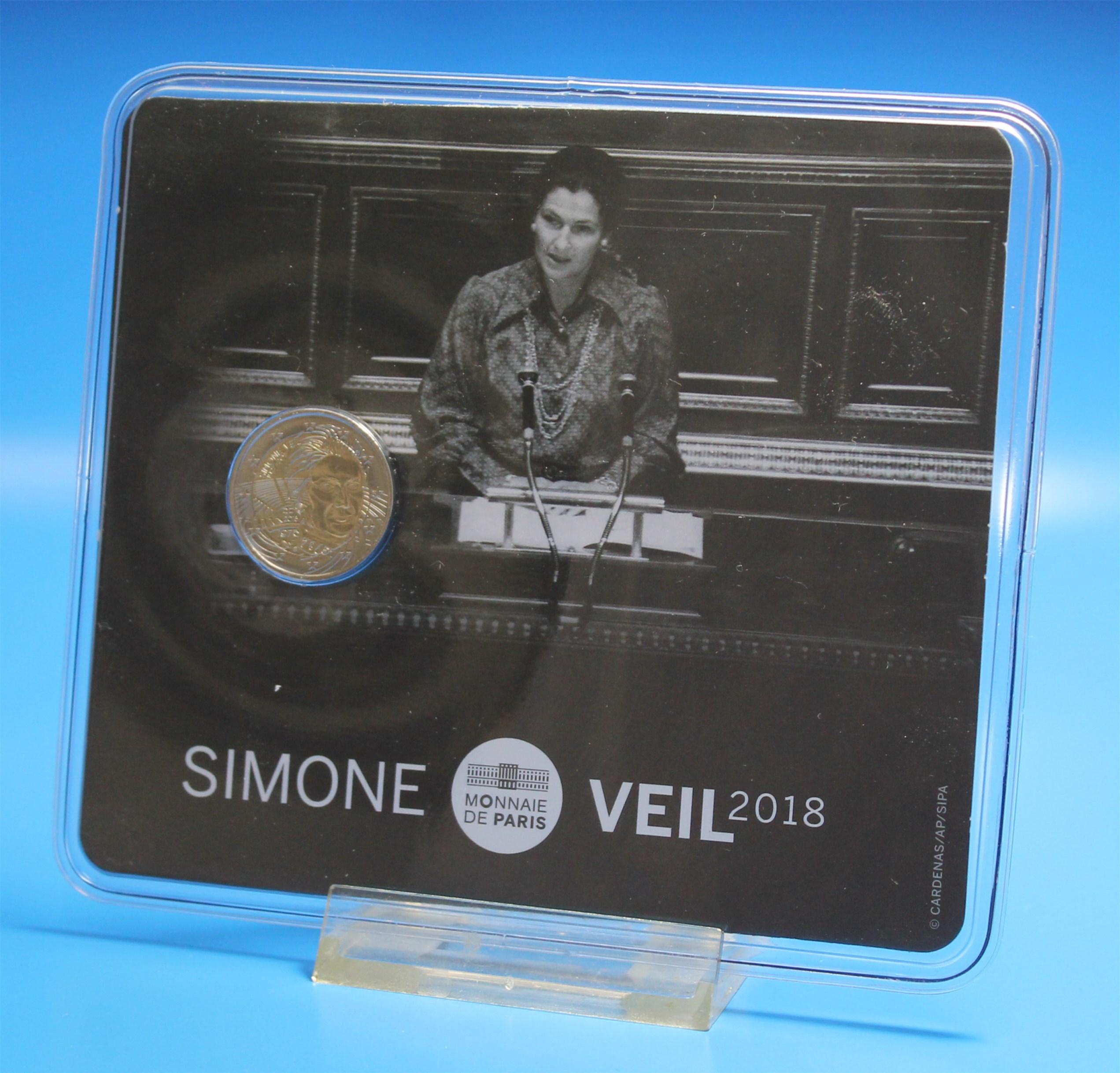 2 Euro Frankreich 2018 Simone Veil Coin Card Graf Waldschratde