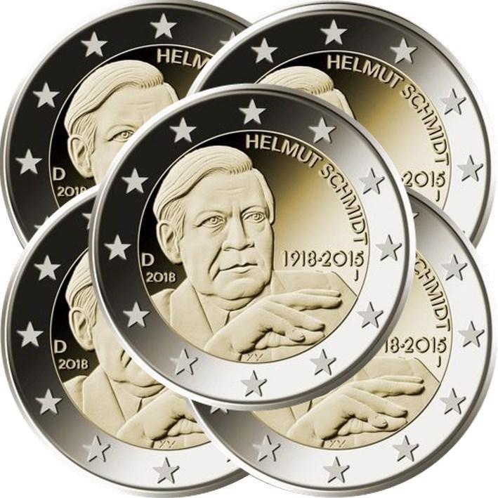 2 Euro Deutschland 2018 Adfgj Helmut Schmidt Graf