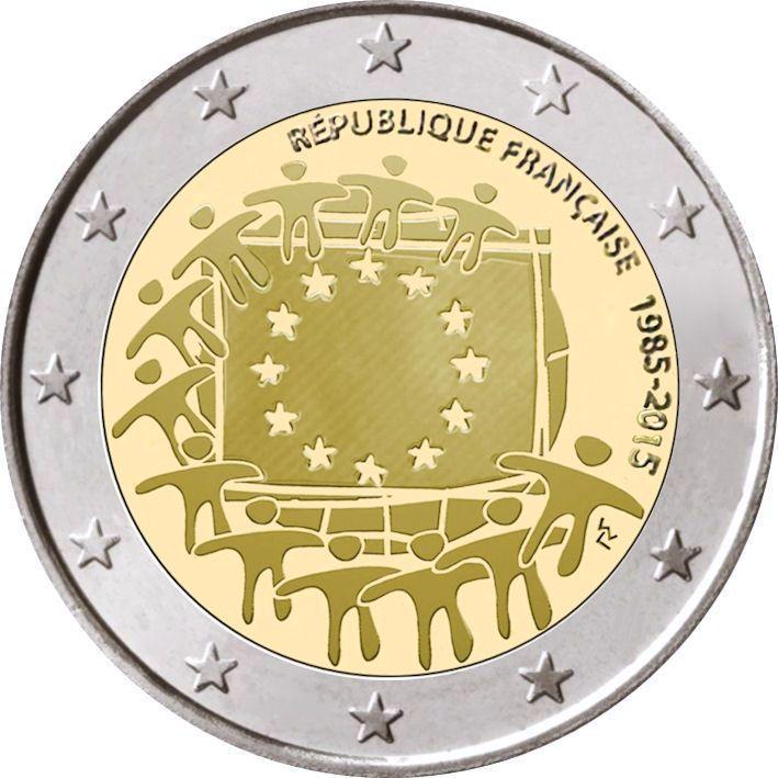 2 Euro Frankreich 2015 Europaflagge Graf Waldschratde In