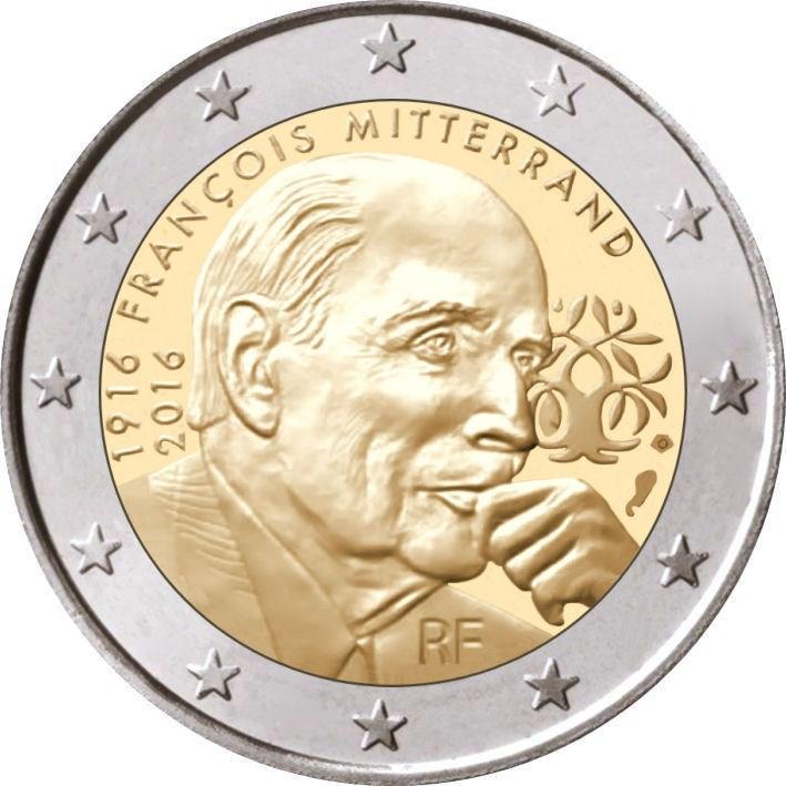 2 Euro Frankreich 2016 Mitterrand Graf Waldschratde In Unserem