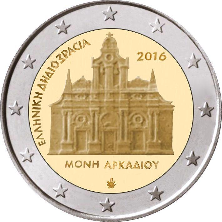 2 Euro Griechenland 2016 Arkadi Kloster Graf Waldschratde In