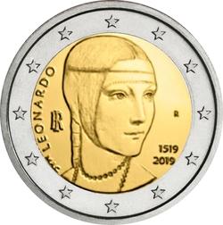 2 Euro Italien 2019 500 Todestag Von Leonardo Da Vinci Graf
