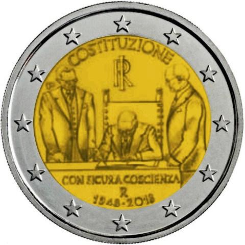 2 Euro Italien 2018 Italienische Verfassung Graf Waldschratde