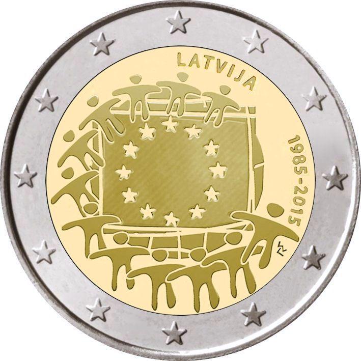 2 Euro Lettland 2015 Europaflagge Graf Waldschratde In Unserem
