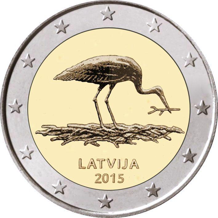 2 Euro Lettland 2015 Storch Graf Waldschratde In Unserem Euro