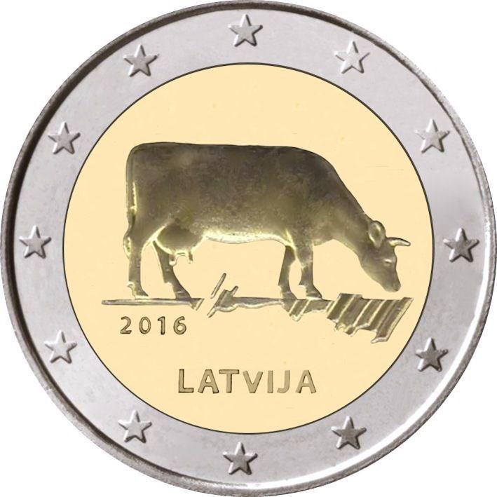 2 Euro Lettland 2016 Milchwirtschaft Graf Waldschratde In