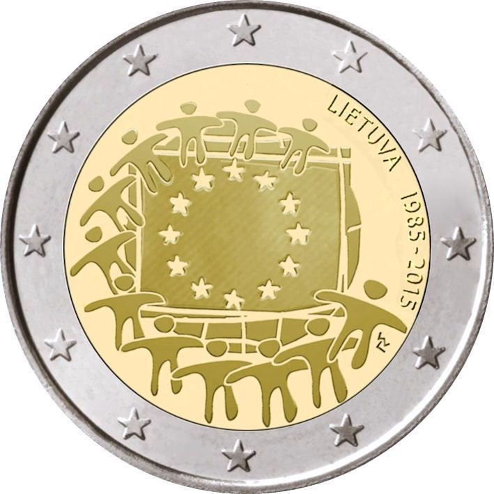 2 Euro Litauen 2015 Europaflagge Graf Waldschratde In Unserem