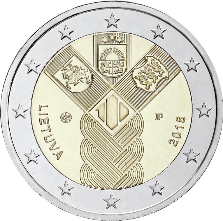 2 Euro Litauen 2018 100 Jahre Unabhängigkeit Graf Waldschratde