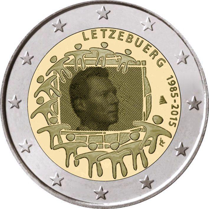 2 Euro Luxemburg 2015 Europaflagge Graf Waldschratde In
