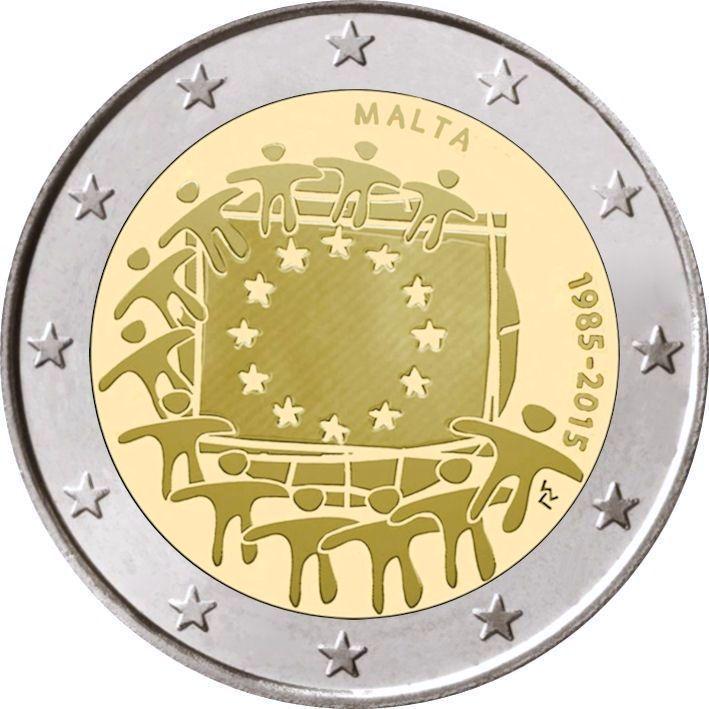 2 Euro Malta 2015 Europaflagge Graf Waldschratde In Unserem