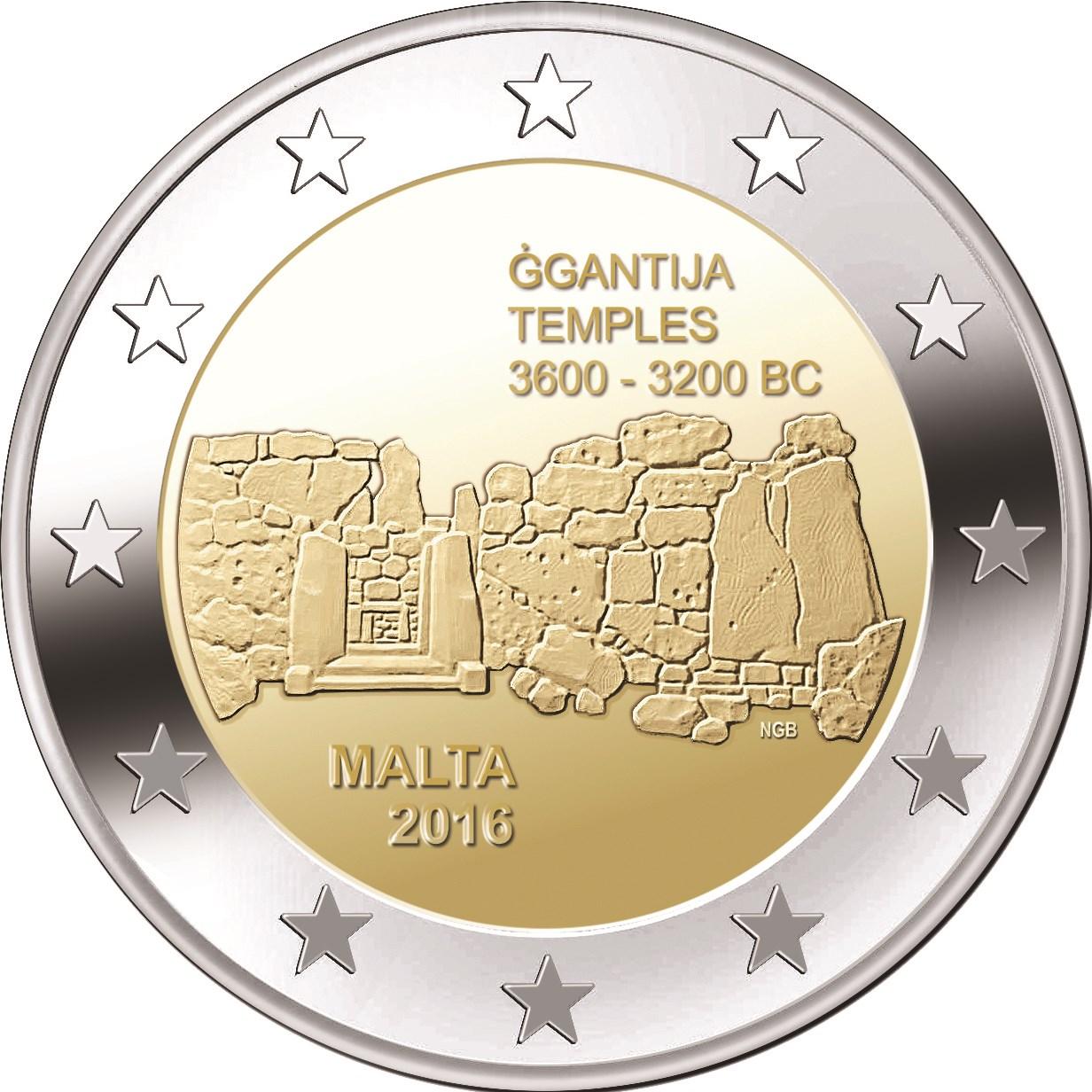 2 Euro Malta 2016 Ggantija Graf Waldschratde In Unserem Euro