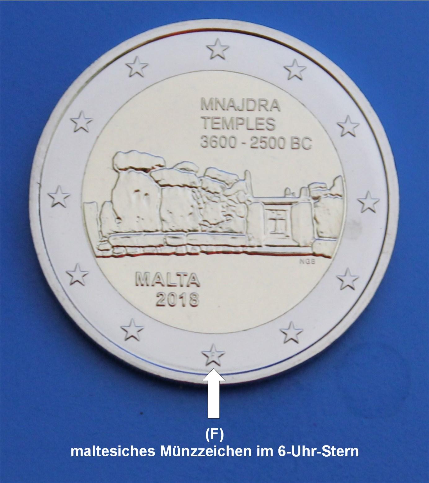 2 Euro Malta 2018 Mnajdra F Münzzeichen