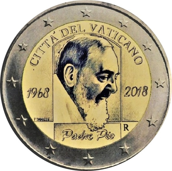 2 Euro Vatikan 2018 Padre Pio In Münzkapsel Graf Waldschratde