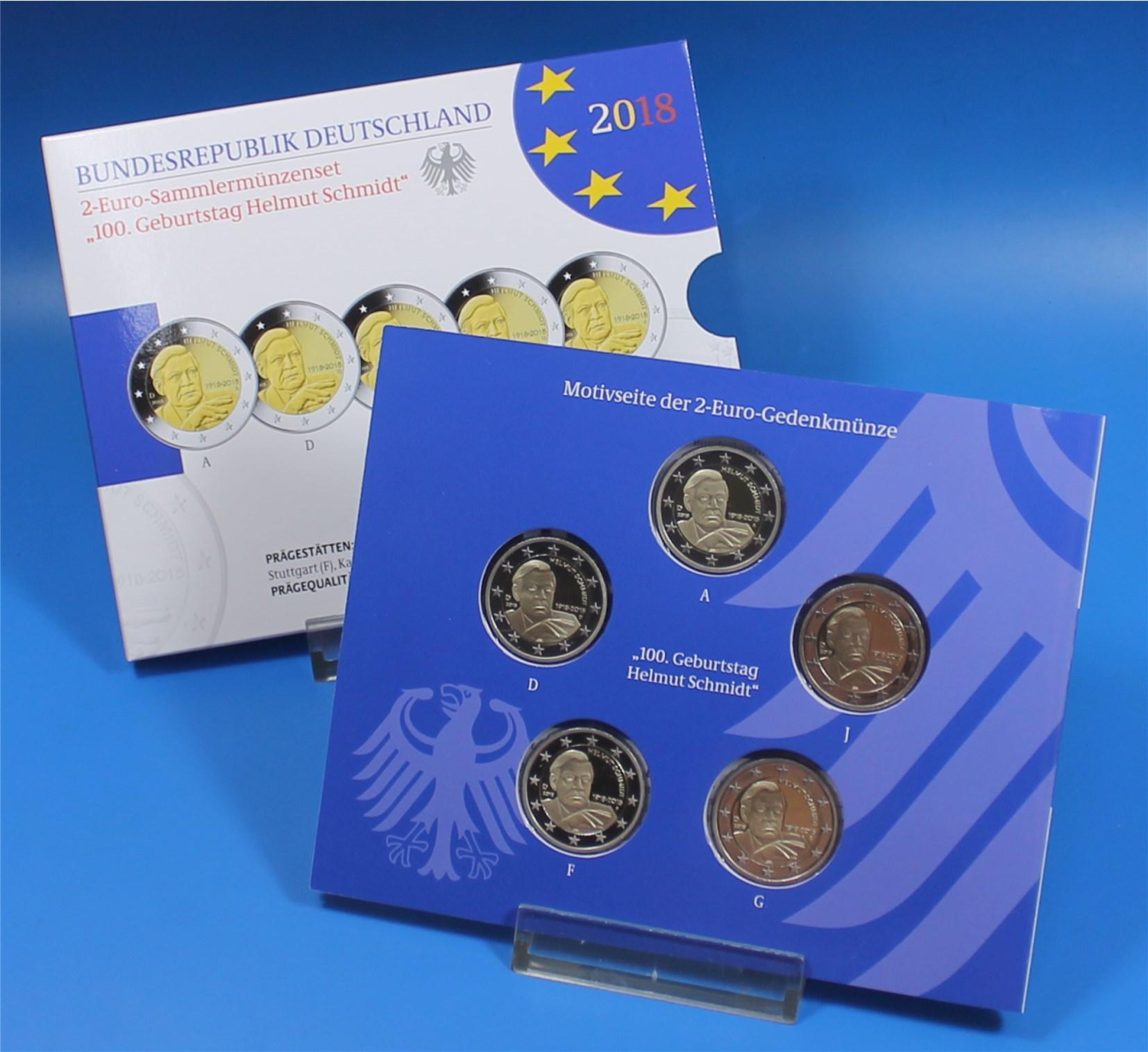 2 Euro Deutschland 2018 Proof A Bis J Helmut Schmidt Graf