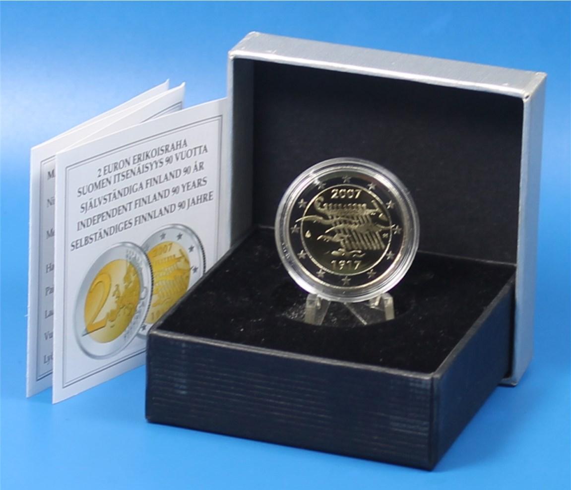 2 Euro Finnland 2007 90 Jahre Unabhängigkeit Proof Graf