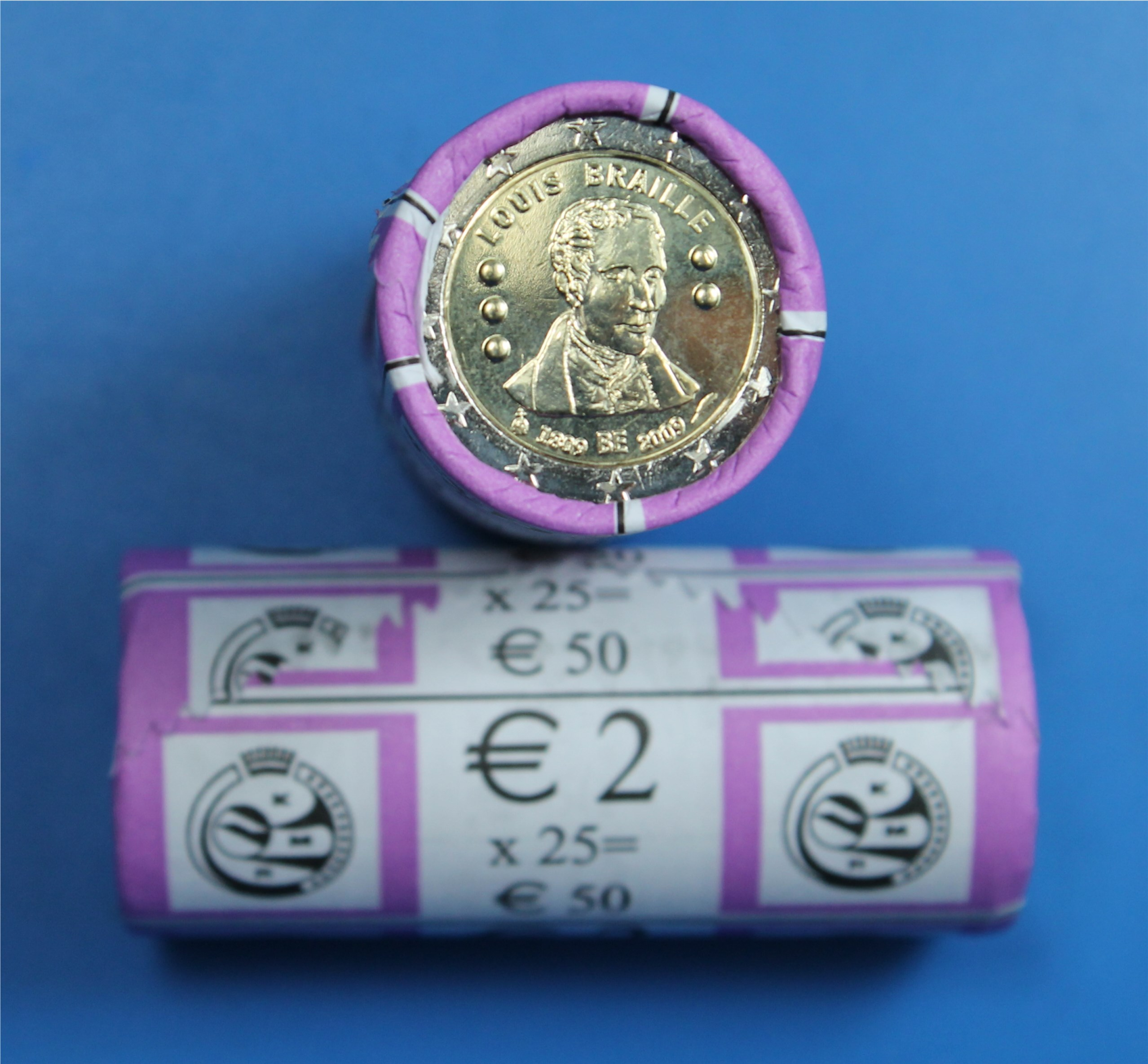 2 Euro Rolle Belgien 2009 Braille Graf Waldschratde In Unserem