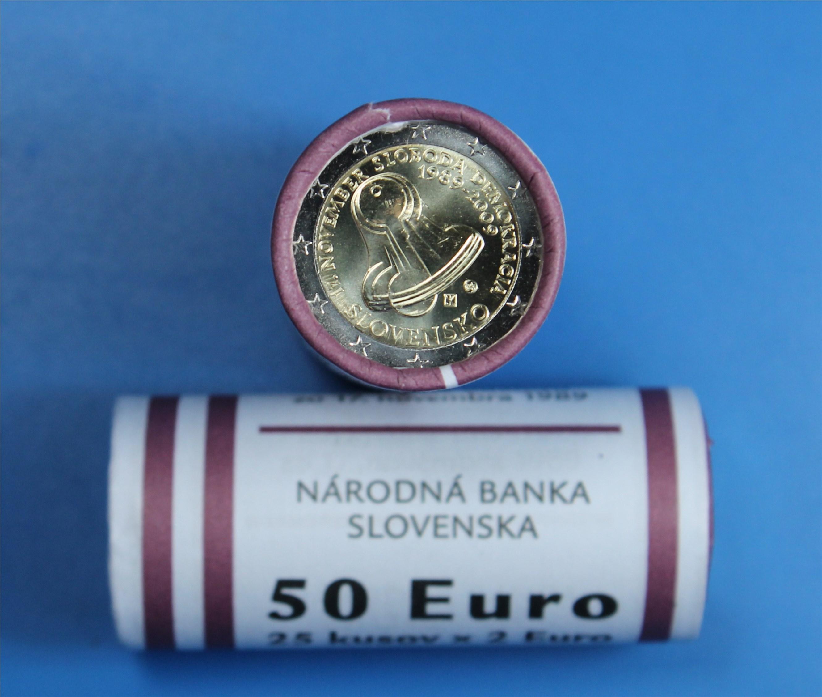 2 Euro Rolle Slowakei 2009 Demokratie Graf Waldschratde In