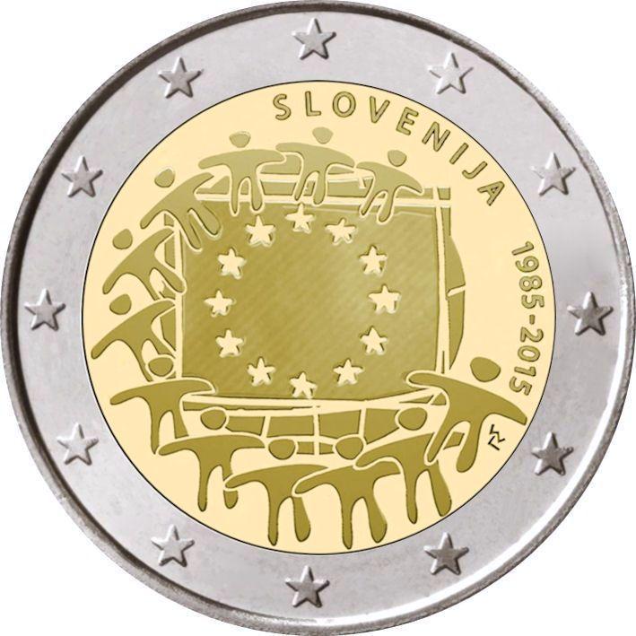 2 Euro Slowenien 2015 Europaflagge Graf Waldschratde In
