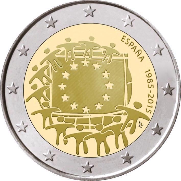 2 Euro Spanien 2015 Europaflagge Graf Waldschratde In Unserem