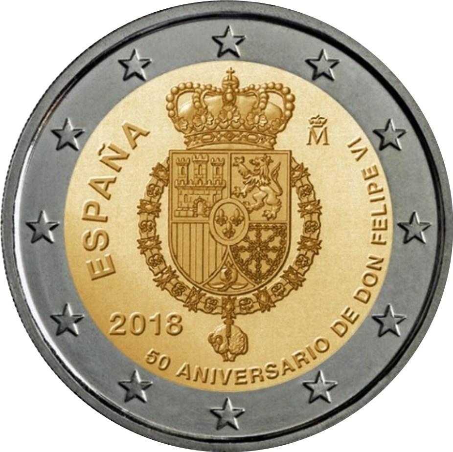 2 Euro Spanien 2018 König Felipe Vi Graf Waldschratde In