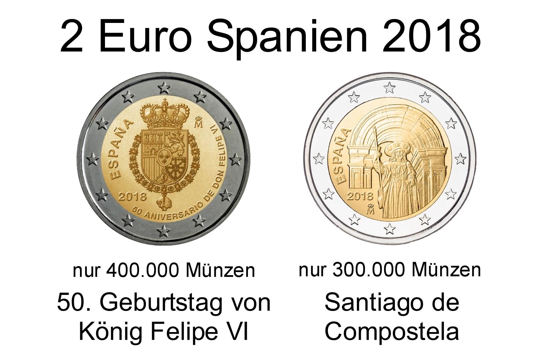 2x 2 Euro Spanien 2018 König Felipe Visantiago De Compostela