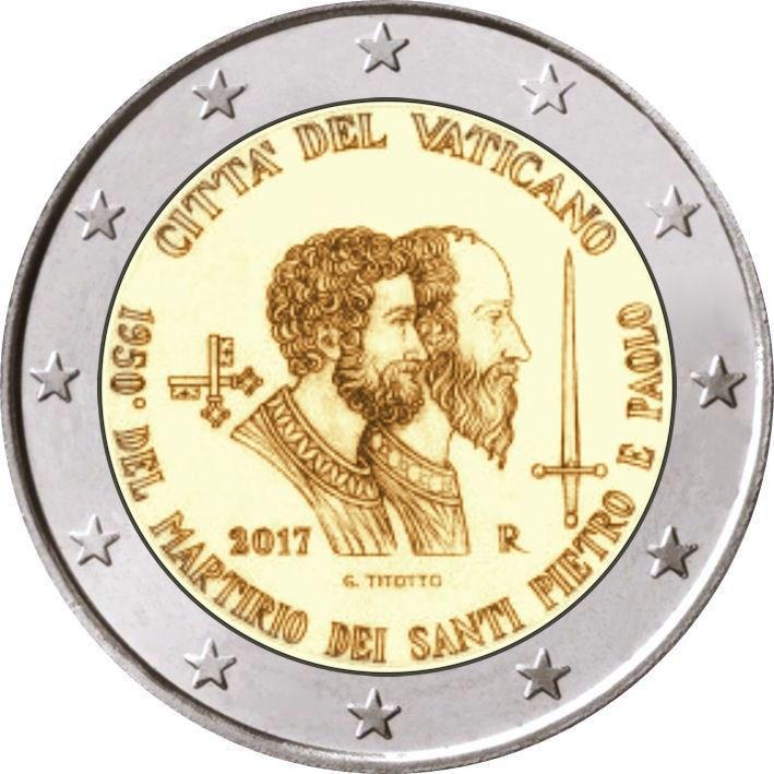 2 Euro Vatikan 2017 Sankt Peter Und Sankt Paulus In Münzkapsel